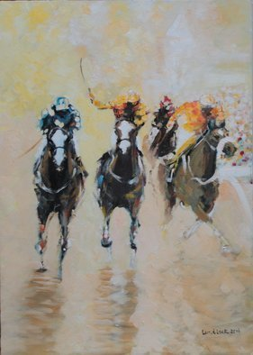 Tom Lund-Lack; Racing Colours 3, 2016, Original Painting Oil, 45 x 60 cm. Artwork description: 241  Contemporary racing painting painting was using thicj applications of oil paint to bring out the drama, colours and excitiment of racing. ...