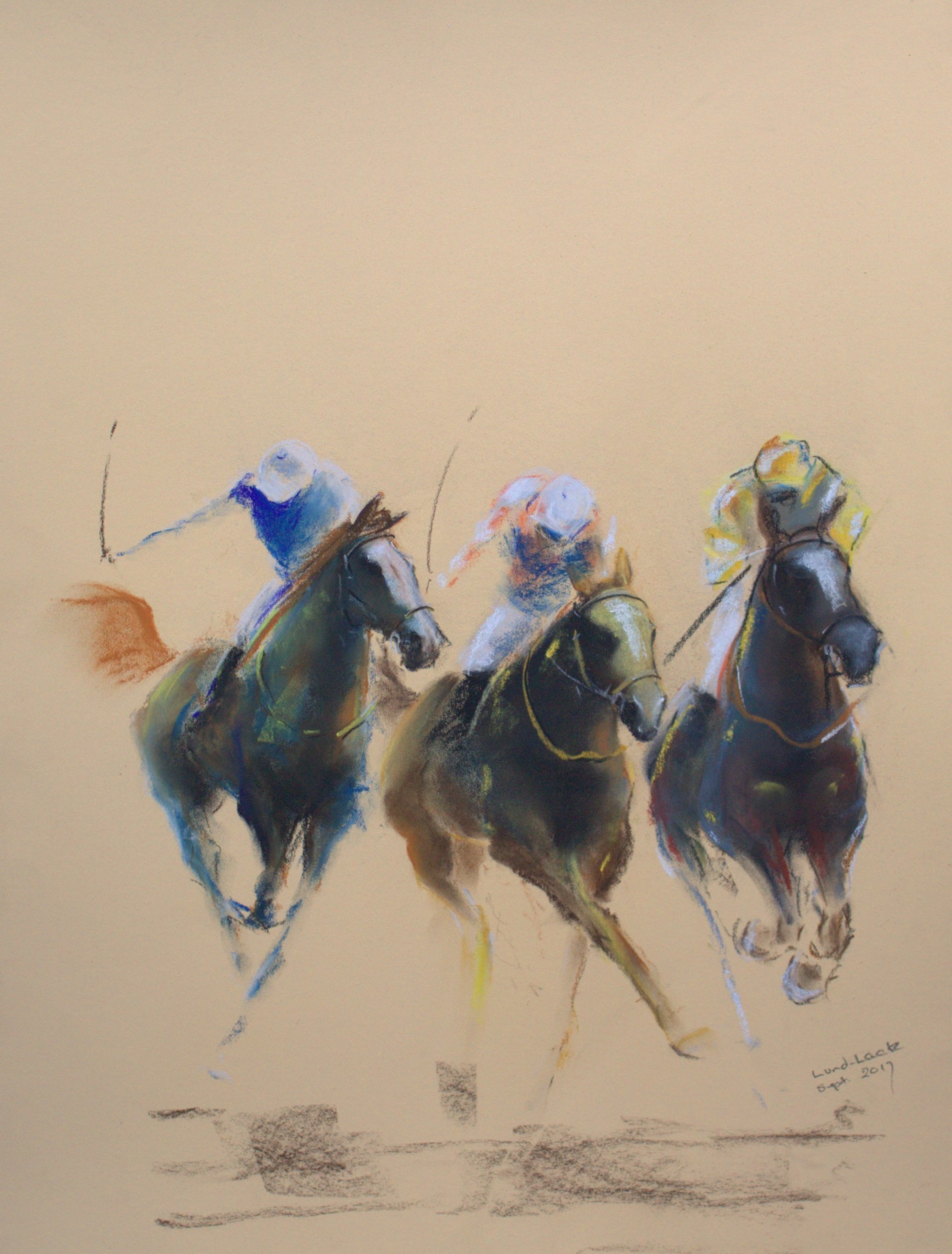 Tom Lund-Lack; energy 15, 2017, Original Pastel, 50 x 70 cm. Artwork description: 241 Harder to do than they look, no mistakes allowed The title reflects the energy of the sport of horse racing and the execution of the sketch - about 1 hour. The support is 300 GSM Mi Teintes cream pastel paper. ...