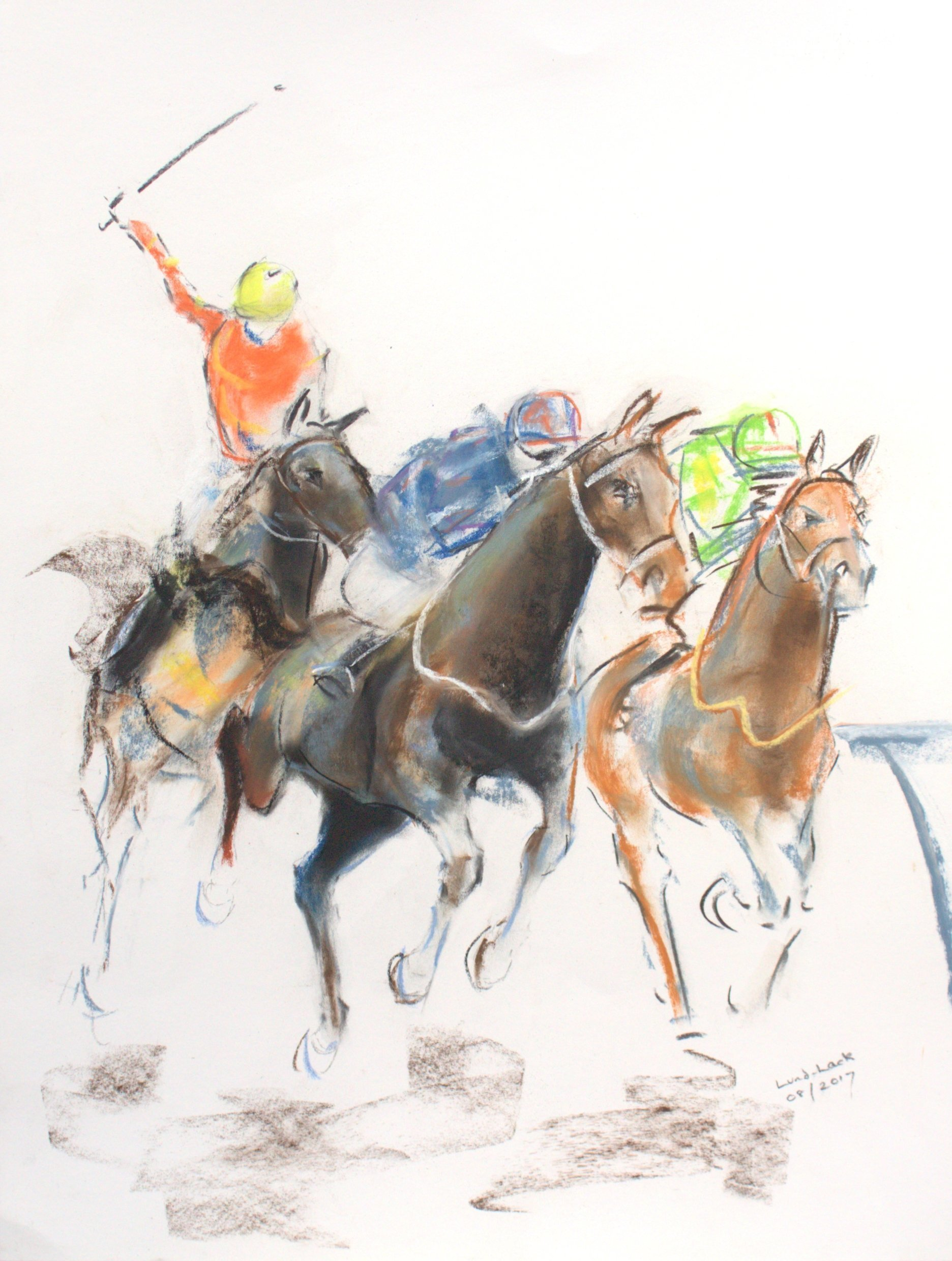 Tom Lund-Lack; energy 16, 2017, Original Pastel, 50 x 70 cm. Artwork description: 241 A pastel sketch, these are harder to do than they look, no mistakes allowed The title reflects the energy of the sport of horse racing and the execution of the sketch. The support is 300 GSM Mi Teintes white pastel paper. ...