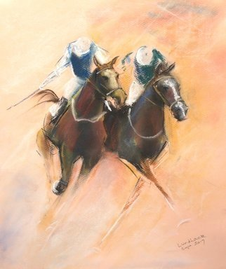 Tom Lund-Lack; Energy 19, 2017, Original Pastel, 36 x 42 cm. Artwork description: 241 Soft and hard pastel on warm cream paper.  This is another piece in my Energy series of paintings, expressing the power and drama of horse racing. ...