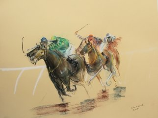 Tom Lund-Lack; Energy 23, 2019, Original Pastel, 70 x 50 cm. Artwork description: 241 Harder to do than they look, no mistakes allowed.  In this series of pastels the title reflects the energy of the sport of horse racing and the execution of the piece.  The support is 300GSM Mi Teintes pastel paper. ...