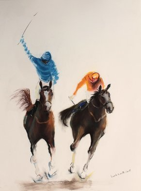 Tom Lund-Lack; Energy 24, 2019, Original Pastel, 50 x 70 cm. Artwork description: 241 Harder to do than they look, no mistakes allowed.  In this series of pastels the title reflects the energy of the sport of horse racing and the execution of the piece.  The support is 300GSM Mi Teintes white pastel paper. ...