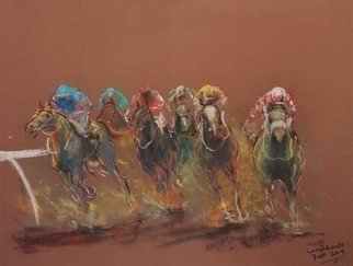 Tom Lund-Lack; Energy 26, 2019, Original Pastel, 50 x 70 cm. Artwork description: 241 Harder to do than they look, no mistakes allowed.  In this series of pastels the title reflects the energy of the sport of horse racing and the execution of the piece.  The support is 300GSM Mi Teintes pastel paper. ...