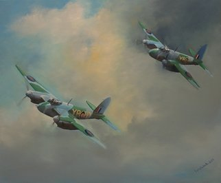 Tom Lund-Lack; raf mosquitos 1943, 2018, Original Painting Oil, 60 x 50 cm. Artwork description: 241 Two De Havilland Mosquitos from 23 Sqn. YP- D   YP- V were both operating from Malta in November 1943. These very successful aircraft were produced in a great number of variants, versatile, lightweight, fast and built around a mostly wooden airframe.  Degree of difficulty is high as ...