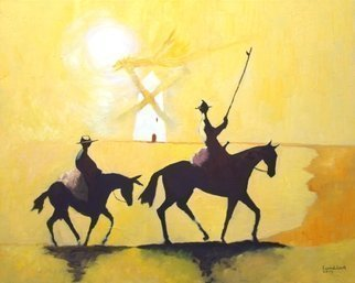 Tom Lund-Lack; tilting at windmills, 2017, Original Painting Oil, 30 x 24 inches. Artwork description: 241 Don Quixote and characters such as Sancho Panza and Don Quixote s steed, Rocinante, are emblems of Western literary culture. The phrase  tilting at windmills  to describe an act of attacking imaginary enemies, derives from an iconic scene in Cervantes novel - The Ingenious Nobleman Mister Quixote of ...