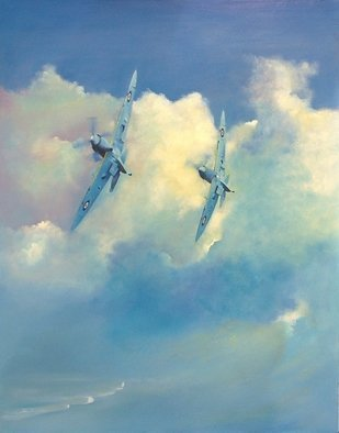 Tom Lund-Lack; two graces, 2009, Original Painting Oil, 24 x 48 inches. Artwork description: 241 A painting completed 8 years ago in which the grace and beauty of the airframe design of the Supermarine Spitfire is celebrated. The cloud forms and a touch of the south coast of England is just visible. ...