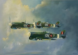 Tom Lund-Lack; typhoons 1944, 2008, Original Painting Oil, 60 x 50 cm. Artwork description: 241 Commissioned piece from 2008 which I never published.  The work was to be given to a former RAF pilot who had flown one of the aircraft in the picture.  Now available as a print through POD via this web site.  Introduced in mid- 1941 it was plagued ...