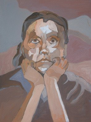 Lucille Rella, 'Self Portrait', 2008, original Painting Acrylic, 40 x 60  inches.