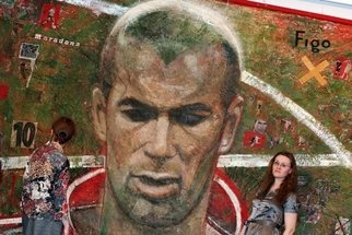 Ekaterina Lutokhina; Zinedine Zidane, 2008, Original Mixed Media, 450 x 300 cm. Artwork description: 241  In our institute is an interim certificate to a bachelor's degree, he called the