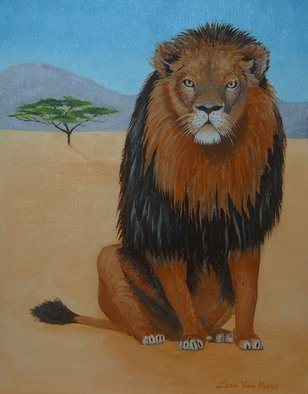 Lora Vannoord; African Lion, 2015, Original Painting Oil, 11 x 14 inches. Artwork description: 241  African Lion oil painting on a canvas Board with a one inch wooden frame. ...