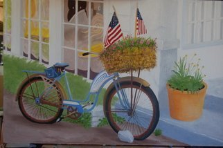 Lora Vannoord; Bike With FLags, 2014, Original Painting Oil, 35 x 23 inches. Artwork description: 241  Original oil painting on canvas board with a 2 inch wooden frame. The flags in the basket of flowers on the bike inspired me to paint the bike. Includes a wooden frame. The painting can be seen at Stirling Gallery in Dunedin FL during the month of ...