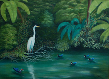 Artist: Lora Vannoord's, title: Birds at the Pond, 2013, Painting Oil
