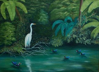 Lora Vannoord; Birds at the Pond, 2013, Original Painting Oil, 24 x 18 inches. Artwork description: 241  Original oil painting of an Egret and several ducks at a pond in Florida. An ever changing scene I enjoyed for hours in Florida. I have chosen a 2 inch wide gold frame for this painting....