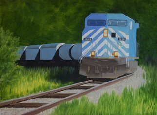 Lora Vannoord; Blue Train, 2016, Original Painting Oil, 24 x 18 inches. Artwork description: 241 Original oil painting of the 1046 Train  in New York. . . 2 inch gold frame  included ...