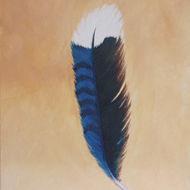 Lora Vannoord, , , Original Painting Oil, size_width{Bluejay_Feather-1454597274.jpg} X 14 inches
