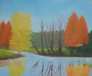 Lora Vannoord; Fall Colors, 2015, Original Painting Oil, 24 x 20 inches. Artwork description: 241 Original oil painting on canvas board. Trees with their fall colors and reflections in the stream. Inspired by a park scene in upstate New York. INCLUDES a 4 inch dark brown wooden frame....