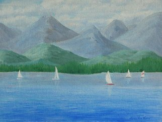 Lora Vannoord; Sailing, 2016, Original Painting Oil, 14 x 11 inches. Artwork description: 241  Original oil painting on canvas board of sail boats on Lake Champlain and Vermont mountains, as seen from New York.  Includes a 1 34 inch wooden frame...