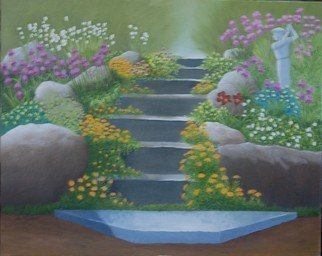 Lora Vannoord; Anns Garden, 2018, Original Painting Oil, 20 x 16 inches. Artwork description: 241 Original oil painting on Canvas Board of Ann s lovely spring garden featureingthe steps to her home and a statue of a gulfer, that reminder everyone of her husband who loved his gulfing...