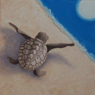 Lora Vannoord; Follow The Light, 2017, Original Painting Oil, 5 x 5 inches. Artwork description: 241 An original oil painting on a wrapped canvas of a newly hatched turtle following the moon light to get to the ocean safely and quickly.  It is on a wrapped canvas and is fun because you can hang it or just place it on a table.  I ...