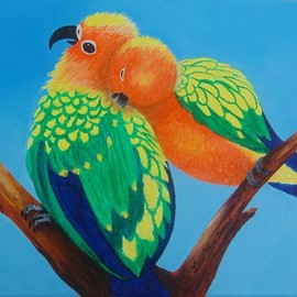 Lora Vannoord, , , Original Painting Oil, size_width{lovebirds-1550692364.jpg} X 8 inches