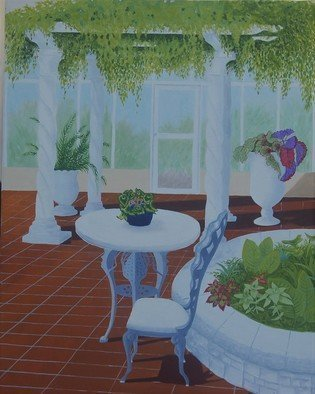 Lora Vannoord; Meijergardenroom, 2018, Original Painting Oil, 16 x 20 inches. Artwork description: 241 original oil painting on masonite of a lovely sitting room at Meijer Garden in Grand Rapids, Michigan...