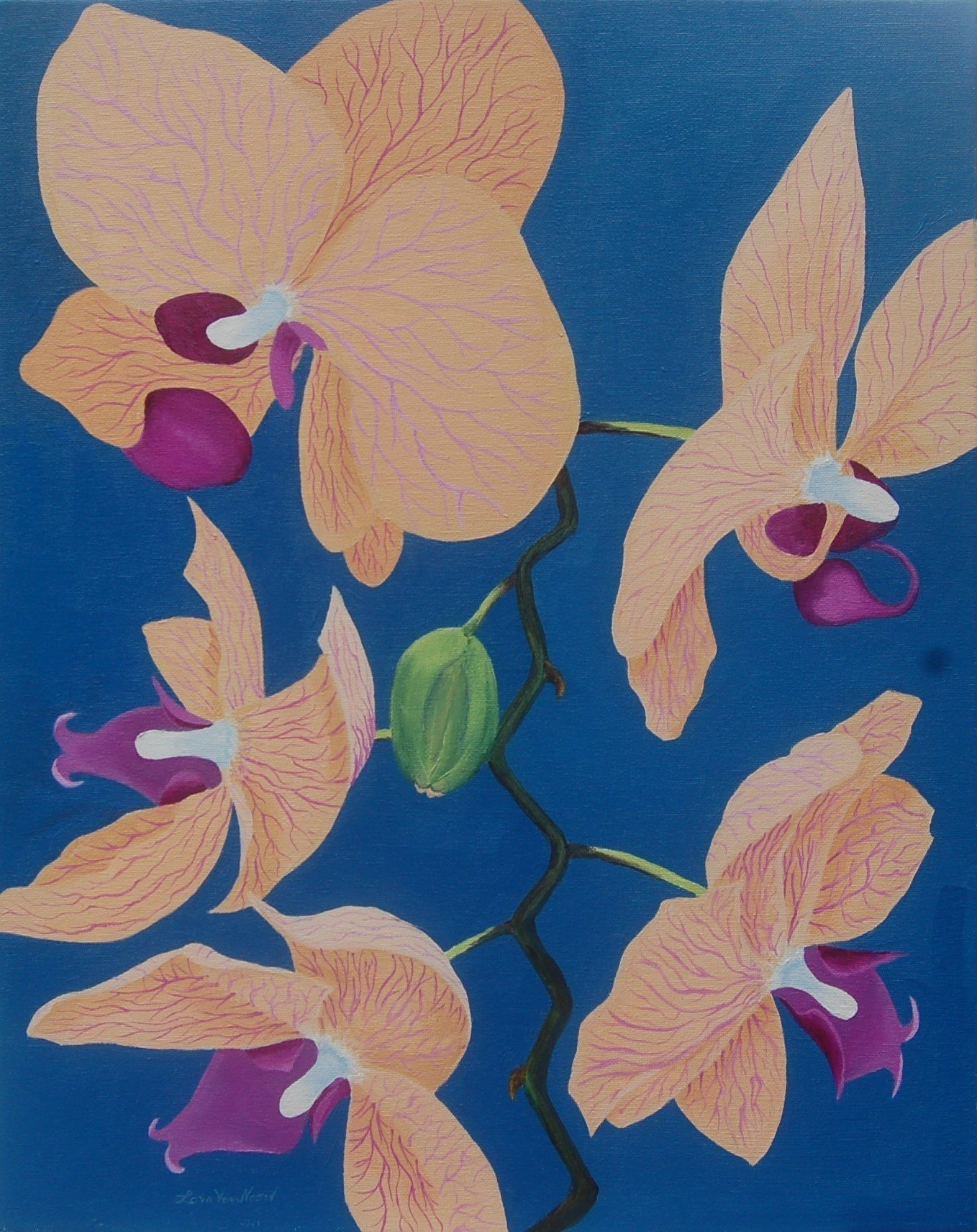 Lora Vannoord; Peach Orchids, 2018, Original Painting Oil, 16 x 20 inches. Artwork description: 241 An original oil painting on canvas.  Inspired by my new love of orchids since living in Florida...