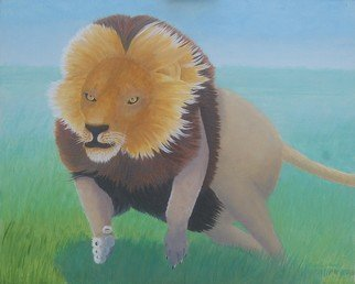 Lora Vannoord; Running Lion, 2018, Original Painting Oil, 20 x 16 inches. Artwork description: 241 A Lion running after prey in the plains of Africa, his paw coming forward in detail.  This oil painting is on canvas board making it easy to frame.  I had not chosen a frame for it yet, so buy it now and choose your own frame...