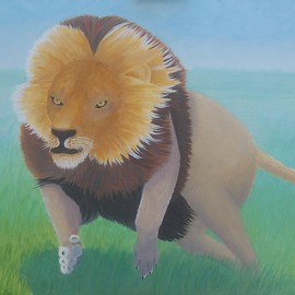 Lora Vannoord, , , Original Painting Oil, size_width{running_lion-1547646486.jpg} X 16 inches