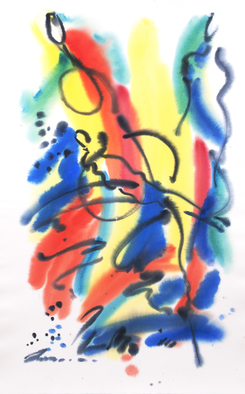Leonid Vidrak; Rhapsody, 2018, Original Watercolor, 32 x 51 inches. Artwork description: 241 An Effusively Enthusiastic and Ecstatic Expression of Feeling. Artist Leonid Vidrak, USA 2018...