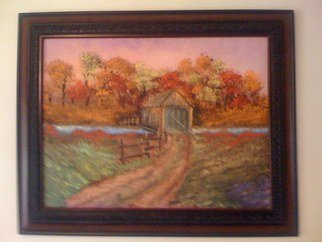 Leonard Parker, 'Covered Bridge in the Fall', 2007, original Painting Oil, 24 x 18  x 1 inches.
