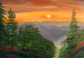 Leonard Parker; Glorious Mountain Sunset, 2016, Original Painting Oil, 24 x 18 inches. Artwork description: 241             southeast, Florida, New Orleans, Texas, Louisiana, Georgia, Mississippi, swamp, Everglades, cypress trees, Spanish moss, swampland, seascape, landscape, cityscape, mountain nscape, scapes, lake scapes, oil painting, tropical, plein air, Hawaii, wave, waves, Carribean islands, tropical islands, ocean, water, New York, Buffalo, waterfall, lake, Leonard Parker, Leonard W. Parker, ...