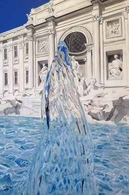 Valeria Latorre; Aqua Virgo, 2016, Original Painting Acrylic, 110 x 166 cm. Artwork description: 241  Photorealistic painting of water in movement.Aqua Virgo is one of the acqueducts that supplied water to Rome for more than 400 years. It has its terminal point at Fontana di Trevi, Rome. ...