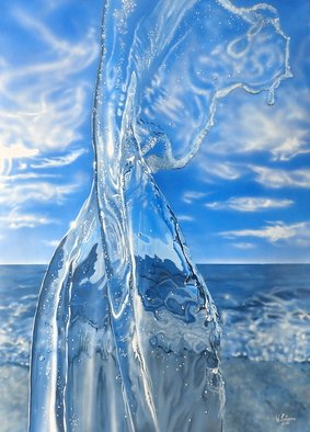 Valeria Latorre; Mar Tirreno, 2016, Original Painting Acrylic, 114 x 157 cm. Artwork description: 241 Photorealistic painting of water in movement.The painting is inspired by the Tyrrehnian Sea ( english translation for Mar Tirreno) , part of the Mediterranean Sea off the western coast of Italy. ...