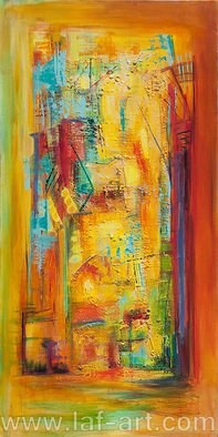Lyn Walters; Surrounded 2, 2014, Original Painting Acrylic, 50 x 100 cm. Artwork description: 241    acrylic architectural urban landscape using bright saturated colour glazes            ...