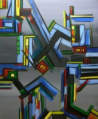 Lynda Lehmann, 'Bibliophiles Dream', 2007, original Painting Acrylic, 24 x 30  x 1 cm. Artwork description: 2307  A quasi- geometric construction which makes me think of the nightmare of library stacks turned over and topsy- turvy. Acrylic on gallery- wrapped canvas, 24 x 30 inches. Image c 2007 Lynda Lehmann.   ...