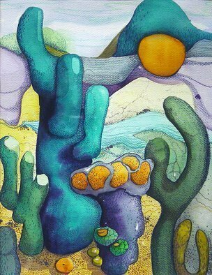 Lynda Lehmann; Existence Of Cactii, 1985, Original Mixed Media, 11 x 14 inches. Artwork description: 241  Abstract mixed media painting on Arches paper, watercolor and colored pencil. Image c Lynda Lehmann.  Original not for sale.  Won Special Recognition Award at Period Gallery. ...