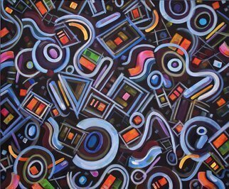 Lynda Lehmann; Metrimorphic III, 2008, Original Painting Acrylic, 36 x 30 inches. Artwork description: 241   This colorful acrylic painting has both geometric and biomorphic features. Hence my coined term Metrimorphic. I enjoy the bright colors floating on the surface of this composition, as well as the more subdued hues beneath them, just barely visible, emerging out of the black underpainting. Image c ...