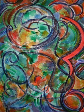 Lynda Lehmann, 'No Such Thing as Climate ...', 2006, original Mixed Media, 18 x 24  cm. Artwork description: 2307 Watercolor with wax and oil crayon.Bright, complementary colors comprise this active composition, which I hope conveys some of the chaos wreaked on our beautiful planet by global warming.  Image c Lynda Lehmann....