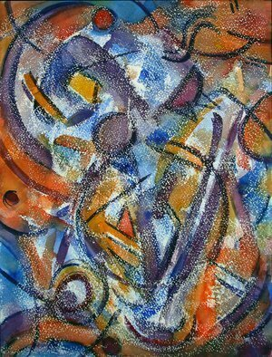 Lynda Lehmann; October Wind, 2007, Original Watercolor, 12 x 16 inches. Artwork description: 241 An active and breezy abstract that reminds me of a windy autumn day, when everything seems to be flapping on the breeze. Image c Lynda Lehmann. Unframed, 12 x 16 inches, watercolor and wax on Arches paper. Textured and tactile....
