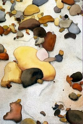 Lynda Lehmann; Peconic Pebbles, 1986, Original Watercolor, 15 x 22 inches. Artwork description: 241  Abstract mixed media painting, watercolor and colored pencil on Arches paper. Pebbles strewn on the sandy shore of Peconic Bay comprise a tactile topography in earth tones, with a lot of surface texture. Image c Lynda Lehmann. Framed size 21. 5 x 28. 5 inches.   ...
