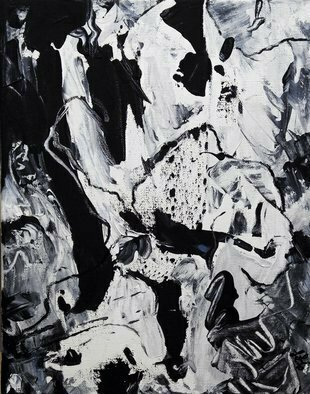 Lynda Lehmann; Ponderosity, 2010, Original Painting Acrylic, 11 x 14 inches. Artwork description: 241  Active, gestural and graphic Abstract Expressionist painting in black and white. Acrylic on gallery- wrapped canvas, 11 x 14 inches.  Keywords: gesture, energy, abstract, expressionism, black and white, gestural, movement, active, intense, evocative, texture, topography ...