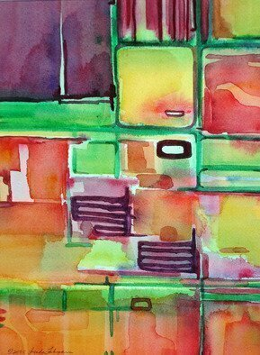 Lynda Lehmann; Remodeling The Kitchen, 2005, Original Watercolor, 9 x 12 inches. Artwork description: 241 Humorous abstract conception of the chaotic nature of household renovation. The forms and bright fruit colors could evoke a number of things. . . Image c 2005 Lynda Lehmann. ...