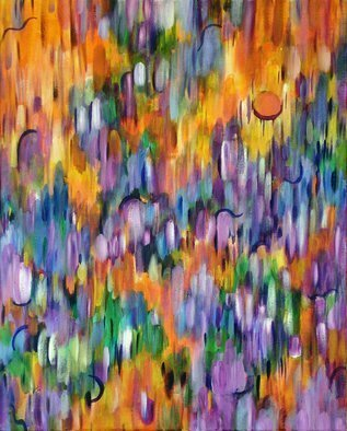 Lynda Lehmann, 'Shimmer', 2007, original Painting Acrylic, 24 x 30  x 1 cm. Artwork description: 2307  Brilliant colors seem to shimmer and move in and out of each other, in this bright abstract with an optical quality.  Acrylic on gallery- wrapped canvas, 24 x 30 inches. Image c Lynda Lehmann.  ...