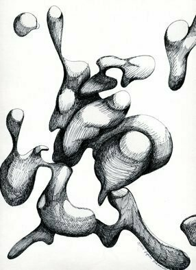 Lynda Lehmann; Souls Of A Restless Sort, 1999, Original Drawing Pen, 9 x 12 inches. Artwork description: 241 This active abstract, comprised of animated organic forms, is one of my favorite drawings- - I' ve always enjoyed biomorphs! The original is not for sale, but I will make you a print, upon request....