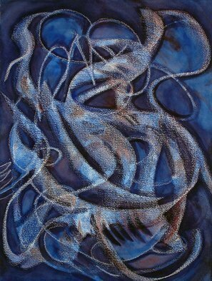 Lynda Lehmann; The Eloquence Of Dreaming, 2006, Original Mixed Media, 18 x 24 inches. Artwork description: 241 Sweeping white curves, surrounded by indigo and underlaid with patches of lighter, more lumious blue as well as areas of red and violet, evoke the ambiguity and mystery of a dream- state. Watercolor and wax on Archer' s watercolor paper.  Image c Lynda Lehmann....