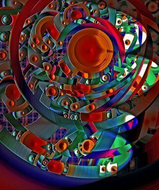 Lynda Lehmann; discopolis 10, 2017, Original Digital Art, 9 x 12 inches. Artwork description: 241 This is an intense multicolored abstract with an architectural quality, that might evoke a futuristic or fantasy landscape made of disks, one of a series in different color combinations. Kids will love this bright image adorning the bedroom or family room wall. Please feel free to contact ...