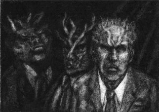 Lynette Vought; Administrative Oni, 2007, Original Drawing Charcoal, 10 x 8 inches. Artwork description: 241  Oni are Japanese ogres or goblins.  ...