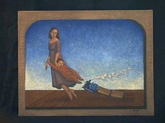 Lynette Vought; Dreamer In Training, 2001, Original Painting Acrylic, 11 x 14 inches. Artwork description: 241 A mother guiding her son in the dream world. This painting is also available as a color laser print....