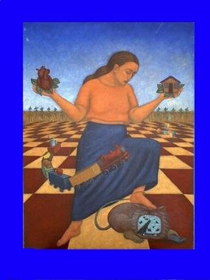 Lynette Vought; Home, 2004, Original Painting Acrylic, 30 x 40 inches. Artwork description: 241 A woman stepping on a demon, while hold her heart and home in her hands....