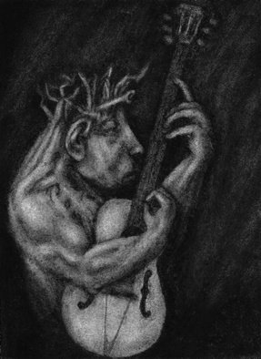 Lynette Vought; Journeyman, 2007, Original Drawing Charcoal, 4 x 6 inches. Artwork description: 241  A guitar kami in training. ...